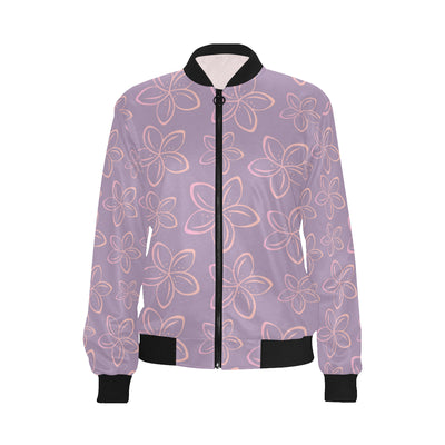Plumeria Pattern Print Design A01 Women Bomber Jacket