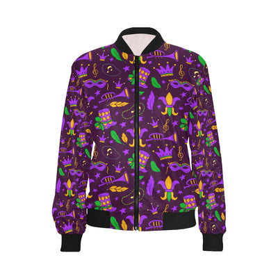Mardi Gras Pattern Print Design 08 Women Bomber Jacket