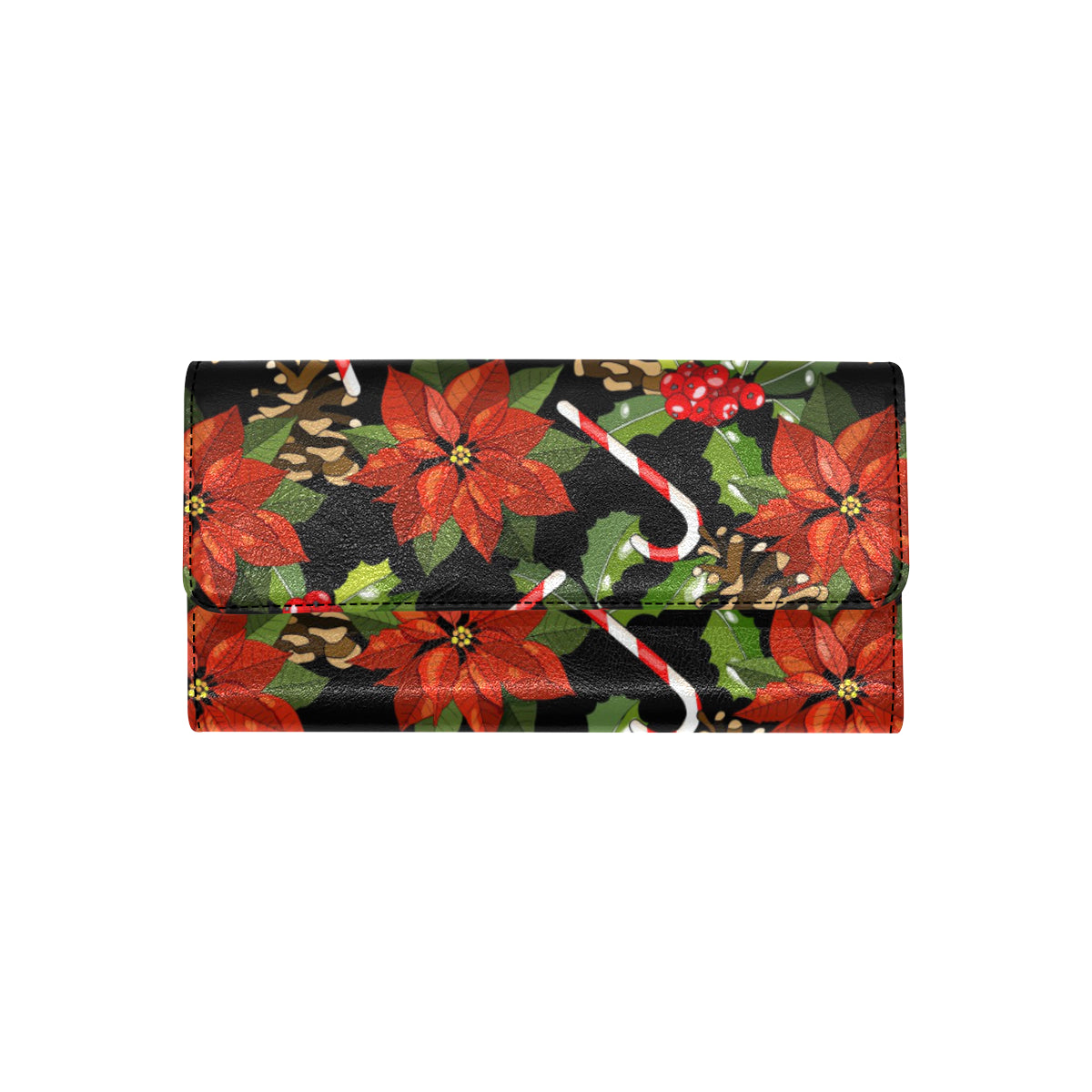 Poinsettia Pattern Print Design POT01 Women Trifold Wallet