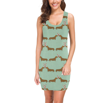 Dachshund Pattern Print Design 02 Mini Dress