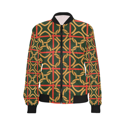 Irish Pattern Print Design 01 Women Bomber Jacket