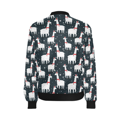 Alpaca Pattern Print Design 04 Women Bomber Jacket