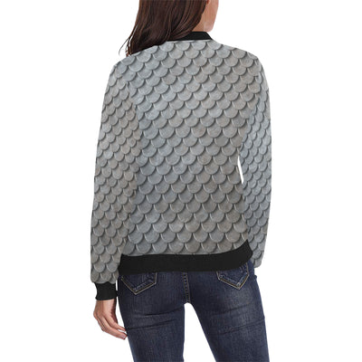 Armor Scales Pattern Print Design 03 Women Bomber Jacket