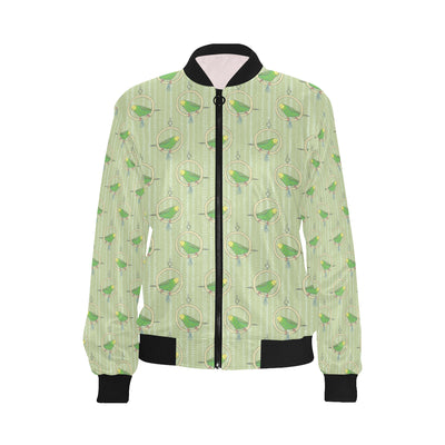 Budgerigar Pattern Print Design 02 Women Bomber Jacket