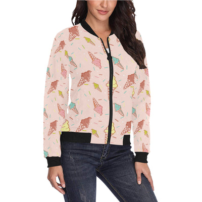 Ice Cream Pattern Print Design 02 Women Bomber Jacket