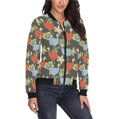 Guinea Fowl Pattern Print Design 02 Women Bomber Jacket