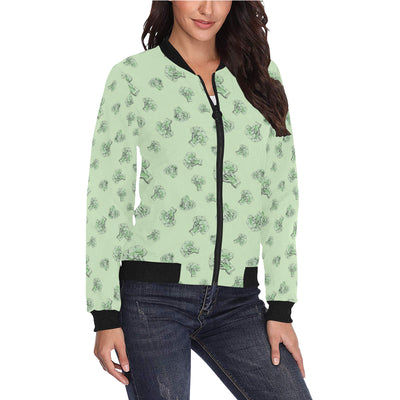 Broccoli Pattern Print Design 05 Women Bomber Jacket