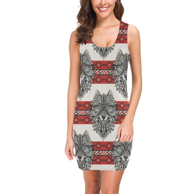 Native Indian Wolf Mini Dress