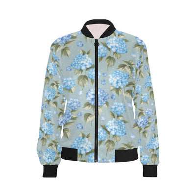 Hydrangea Pattern Print Design 01 Women Bomber Jacket