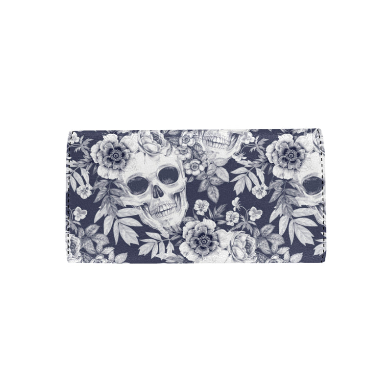 Skull Floral Beautiful Women Trifold Wallet