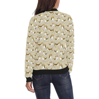 Beagle Pattern Print Design 04 Women Bomber Jacket