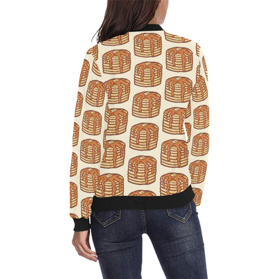 Pancake Pattern Print Design A02 Women Bomber Jacket