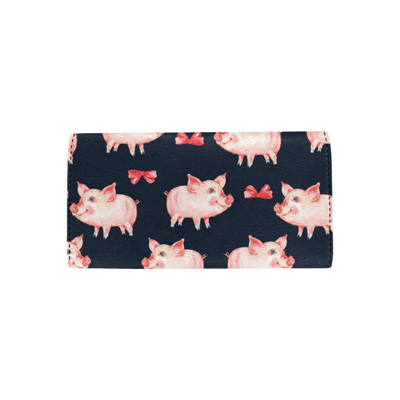 Pig Cute Pattern Print Design 02 Women Trifold Wallet