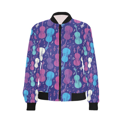 Cello Pattern Print Design 01 Women Bomber Jacket