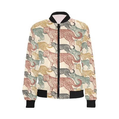 Jaguar Pattern Print Design 01 Women Bomber Jacket