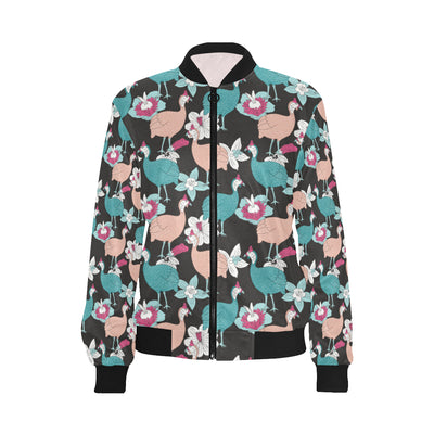 Guinea Fowl Pattern Print Design 03 Women Bomber Jacket