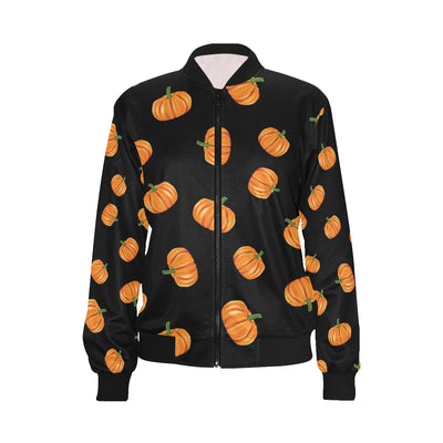 Pumpkin Pattern Print Design A05 Women Bomber Jacket