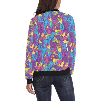 Psychedelic Mushroom Pattern Print Design A03 Women Bomber Jacket