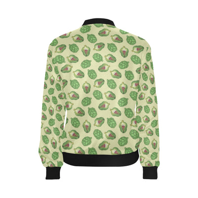 Artichoke Pattern Print Design 03 Women Bomber Jacket