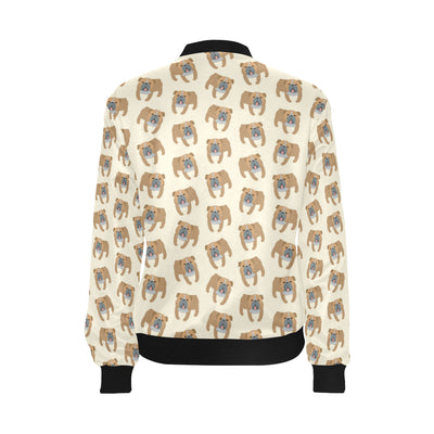 Bulldogs Pattern Print Design 01 Women Bomber Jacket