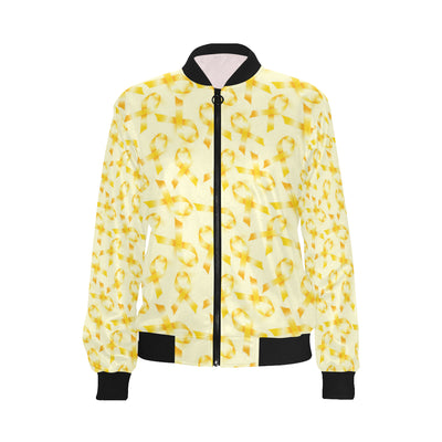 Childhood cancer Pattern Print Design 01 Women Bomber Jacket