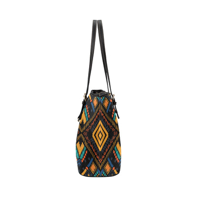 Kente Pattern Print Design 05 Shopping Leather Tote Bag
