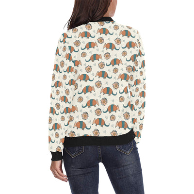 Armadillo Pattern Print Design 02 Women Bomber Jacket