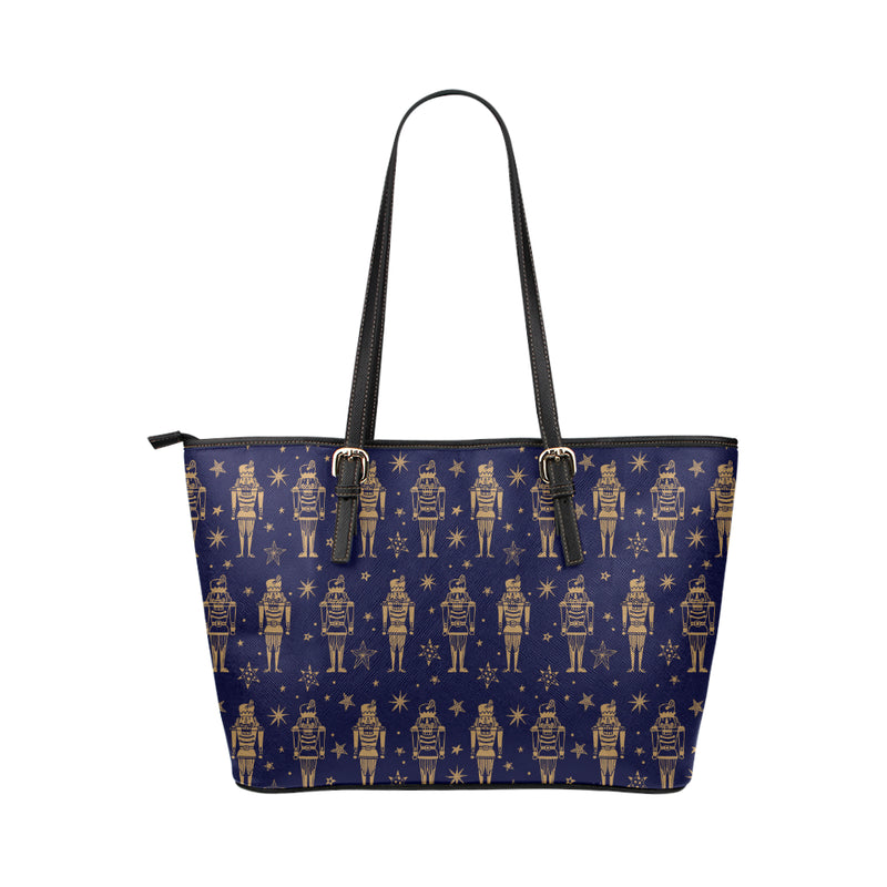 Nutcracker Pattern Print Design A05 Shopping Leather Tote Bag