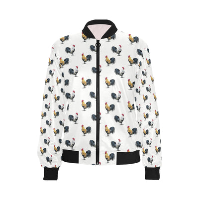 Chicken Pattern Print Design 02 Women Bomber Jacket