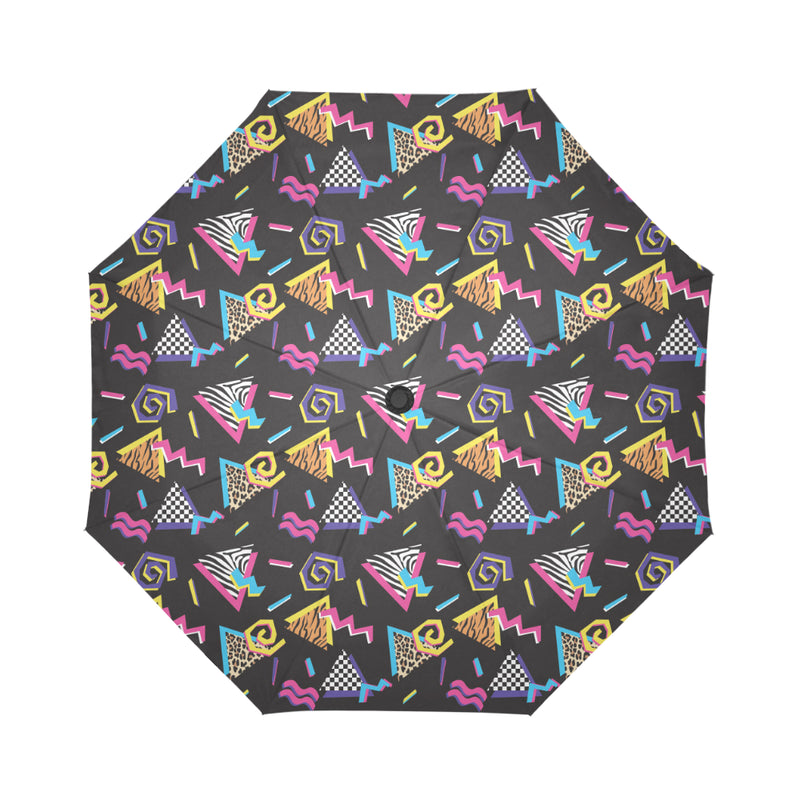 80s Pattern Print Design 3 Automatic Foldable Umbrella