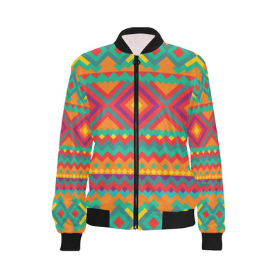 Mexican Pattern Print Design 04 Women Bomber Jacket