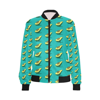 Avocado Pattern Print Design 03 Women Bomber Jacket