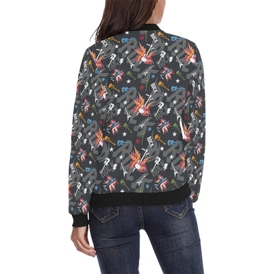 Rock and Roll Pattern Print Design A01 Women Bomber Jacket