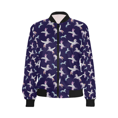 Pegasus Pattern Print Design 02 Women Bomber Jacket