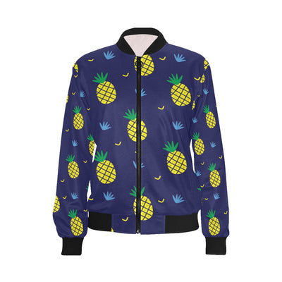 Pineapple Pattern Print Design A01 Women Bomber Jacket