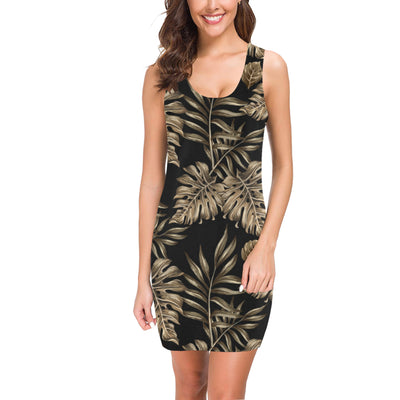 Brown Tropical Palm Leaves Mini Dress