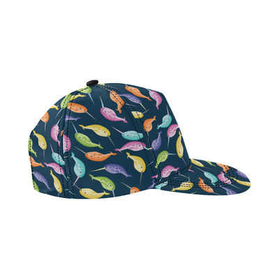 Narwhal Colorful Pattern Print Design 03 Snapback Hat