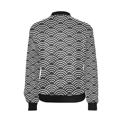 Scales Black White Pattern Print Design 03 Women Bomber Jacket
