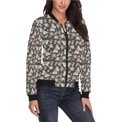 Butterfly Flower Pattern Print Design 07 Women Bomber Jacket
