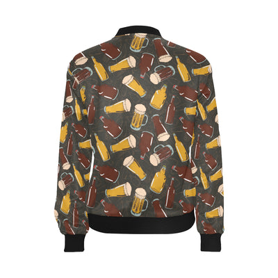 Beer Pattern Print Design 03 Women Bomber Jacket