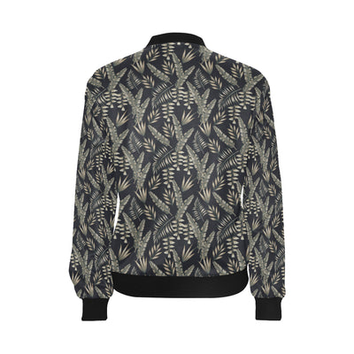 Banana Leaf Pattern Print Design 07 Women Bomber Jacket