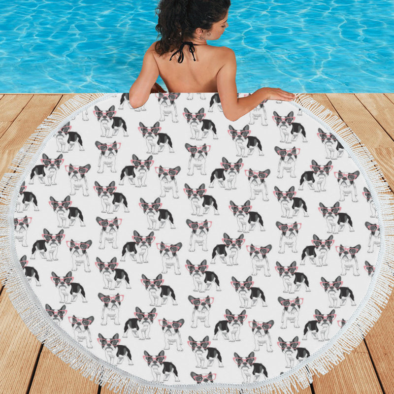 Boston Terrier Pattern Print Design 03 Round Beach Mat