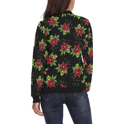 Poinsettia Pattern Print Design A01 Women Bomber Jacket