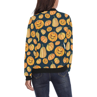 Pumpkin Halloween Pattern Print Design A04 Women Bomber Jacket