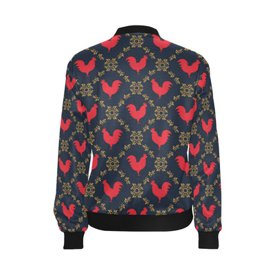 Rooster Pattern Print Design A02 Women Bomber Jacket