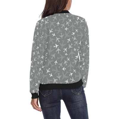Airplane Pattern Print Design 02 Women Bomber Jacket