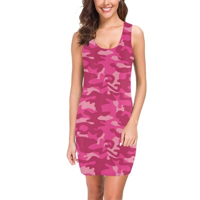 Camo Pink Pattern Print Design 01 Mini Dress