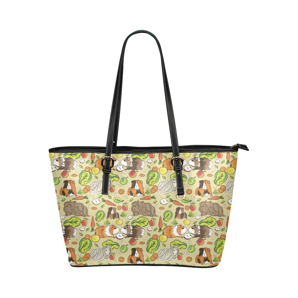 Guinea Pig Pattern Print Design 02 Shopping Leather Tote Bag
