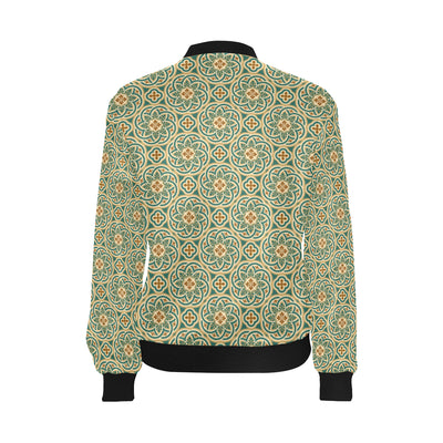 Cross Pattern Print Design 01 Women Bomber Jacket