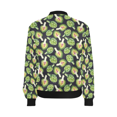 Artichoke Pattern Print Design 01 Women Bomber Jacket